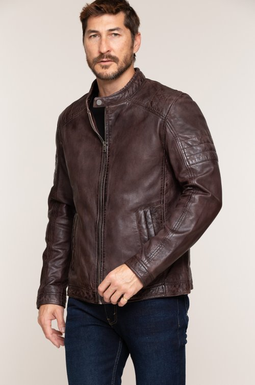 Cave Lambskin Leather Moto Jacket