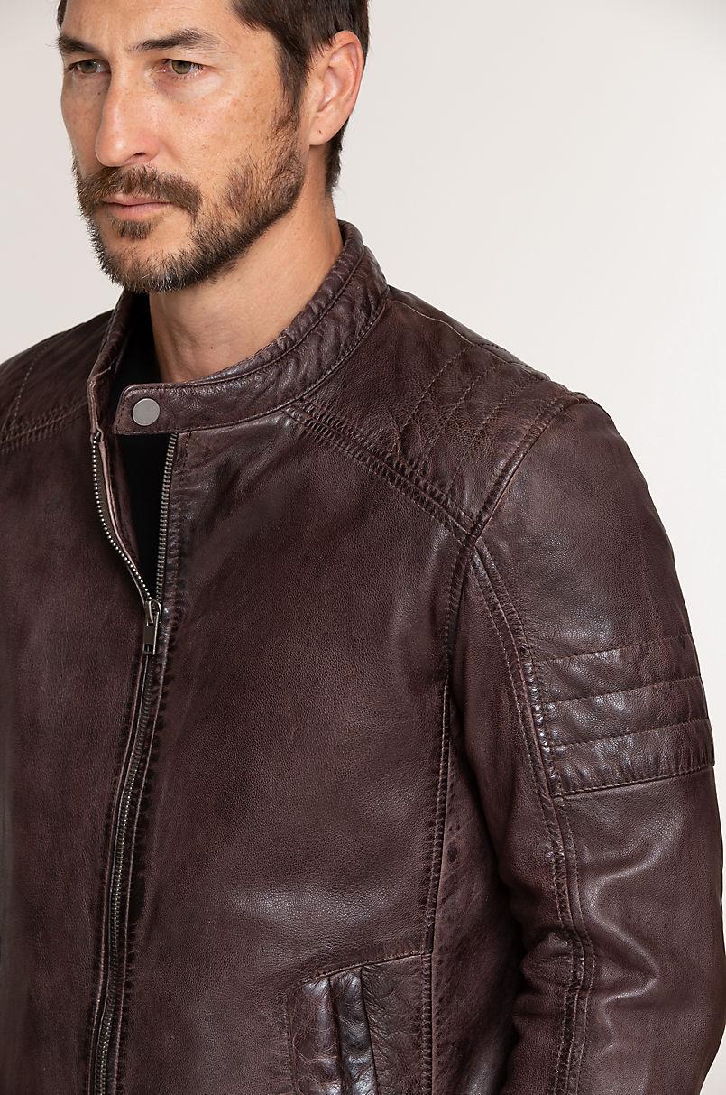 Cave Lambskin Leather Moto Jacket