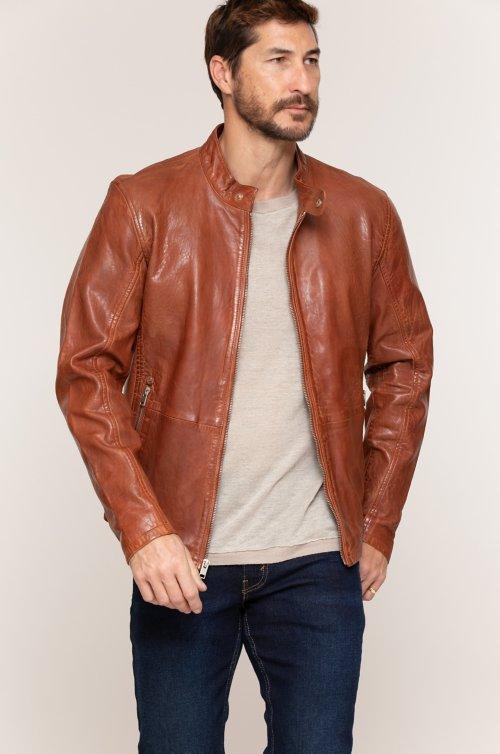 Hank Washed Lambskin Leather Moto Jacket