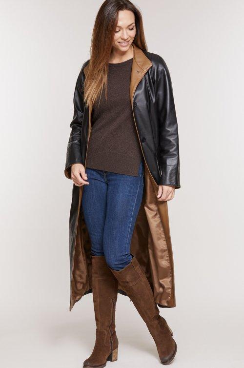 Vickie Full-Length Lambskin Leather Coat