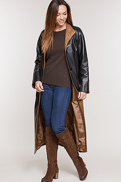Vickie Full-Length Lambskin Leather Coat