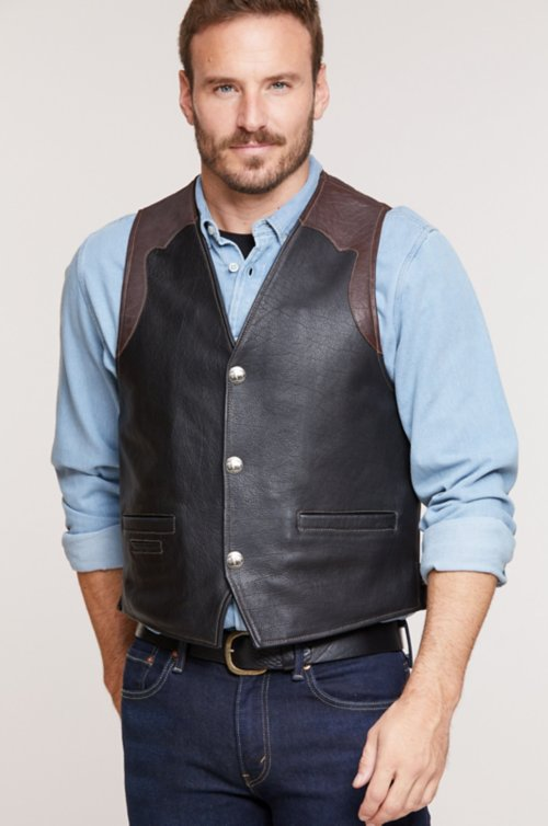 Garrison Bison Leather Vest with Concealed Carry Pockets - Tall (42L - 50L)