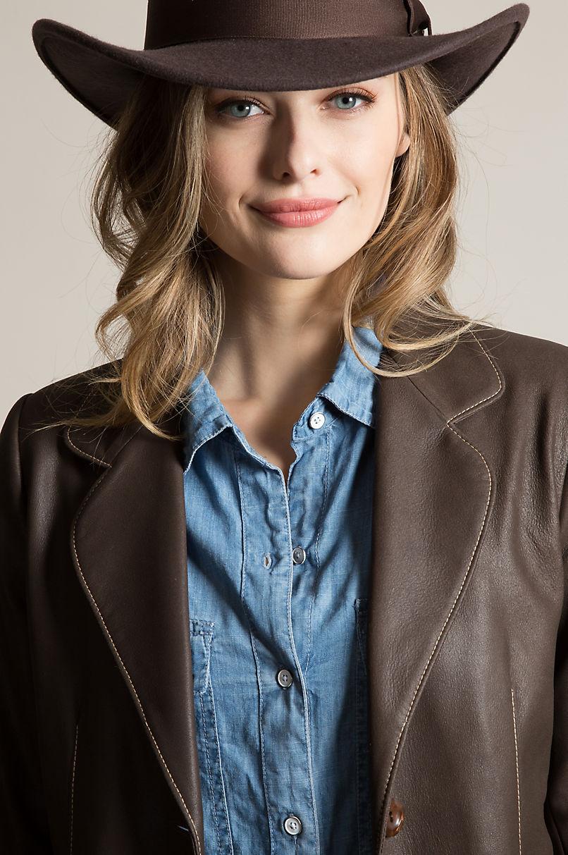 Amanda Lambskin Leather Blazer