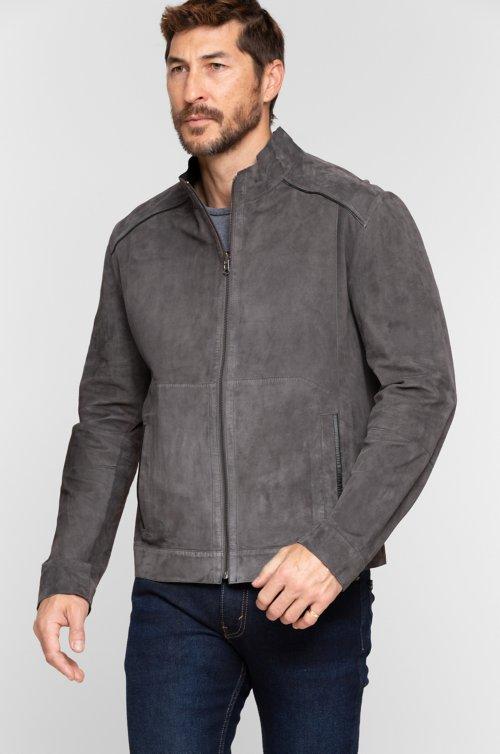 Caleb Reversible Italian Lambskin Suede Moto Jacket
