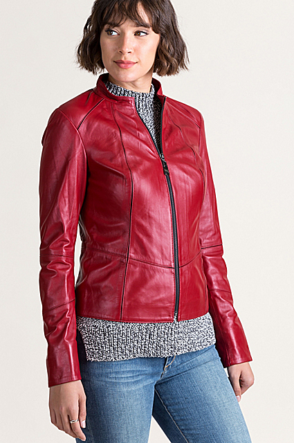 Racquel Italian Lambskin Leather Moto Jacket