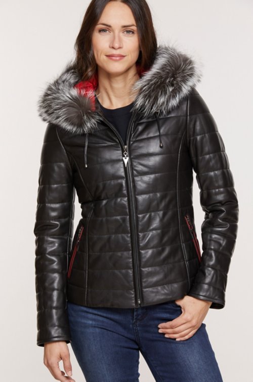 Ginger Hooded Lambskin Leather Jacket with Fox Fur Trim