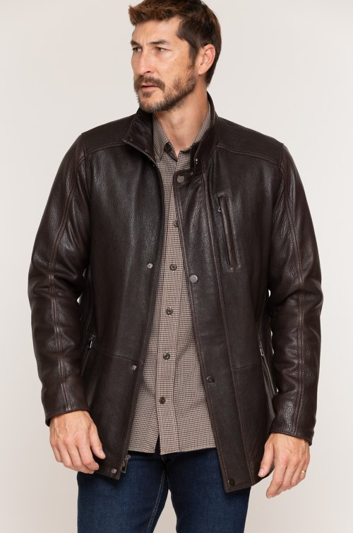 Reynolds Italian Lambskin Leather Car Coat