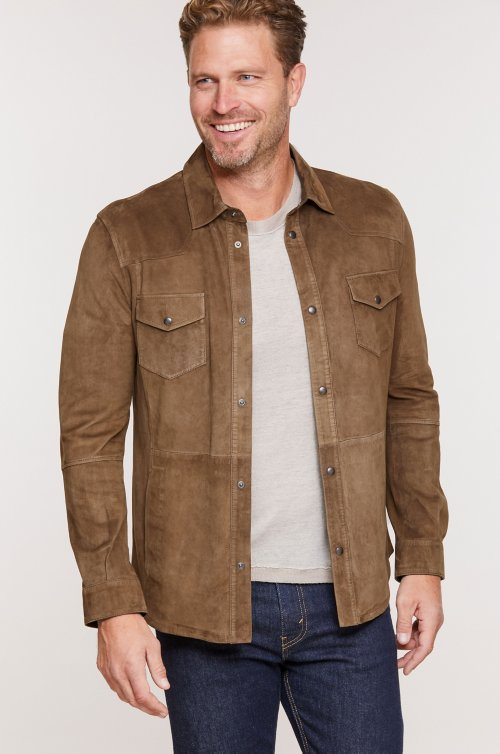Spencer Italian Lambskin Suede Shirt Jacket
