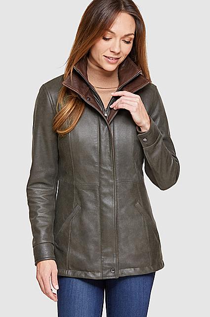 Simone Italian Nubuck Lambskin Leather Swing Coat