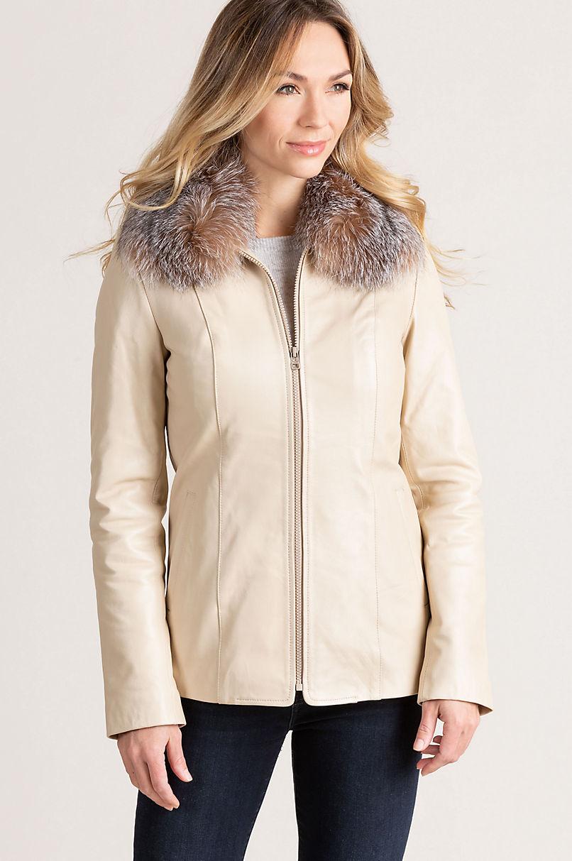 Faye Italian Lambskin Leather Jacket with Detachable Fox Fur Collar