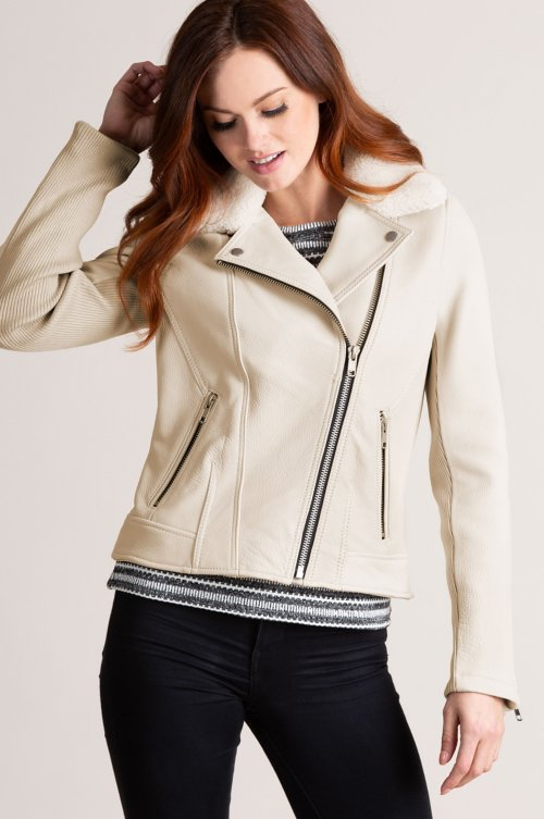 Cheryl Leather Moto Jacket with Detachable Shearling Collar