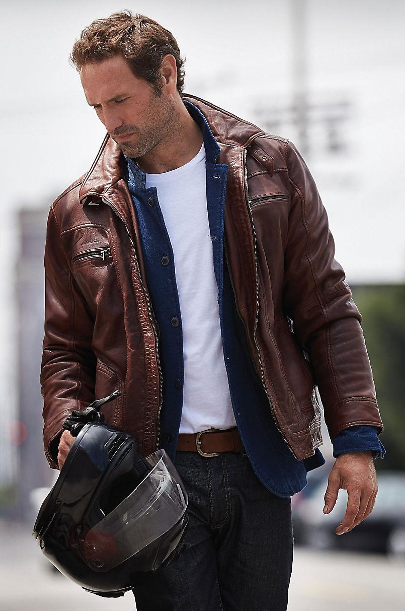 3223df530 Memphis Lambskin Leather Bomber Moto Jacket