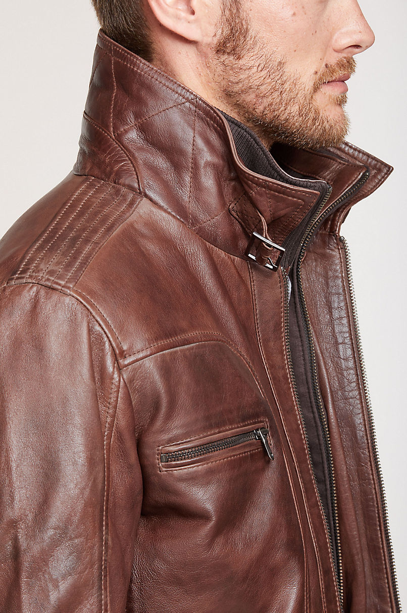 Memphis Lambskin Leather Bomber Moto Jacket