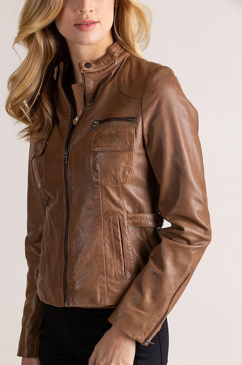 Marie Lambskin Leather Moto Jacket