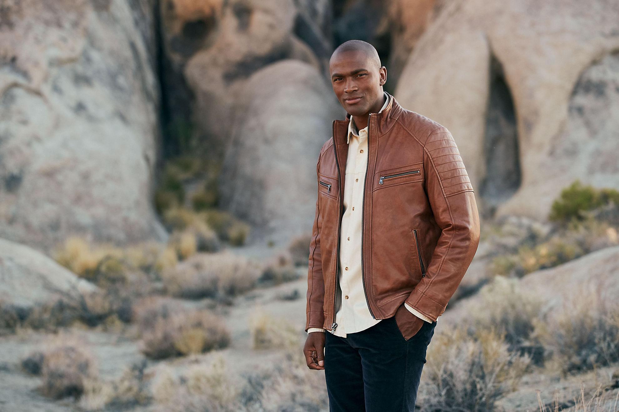 Udo Waxed Lambskin Leather Moto Jacket