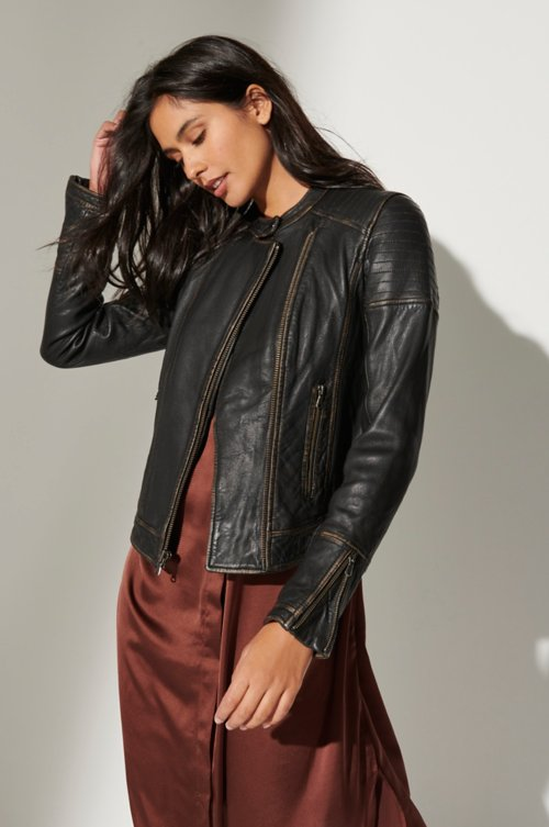 Chelsea Lambskin Leather Moto Jacket