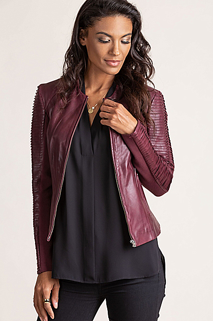 Valerie Lambskin Leather Moto Jacket