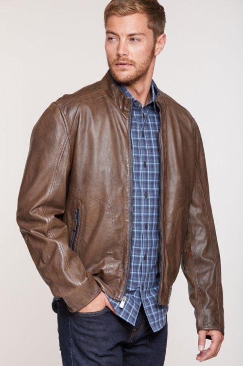 Gavin Lambskin Leather Bomber Jacket