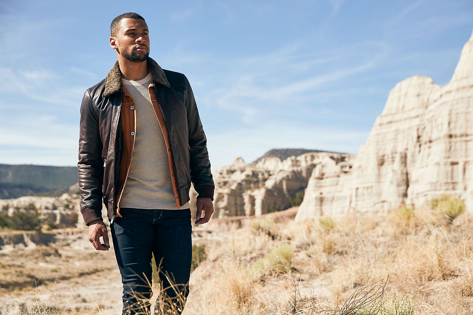 Oakley Lambskin Leather Bomber Jacket with Shearling Collar