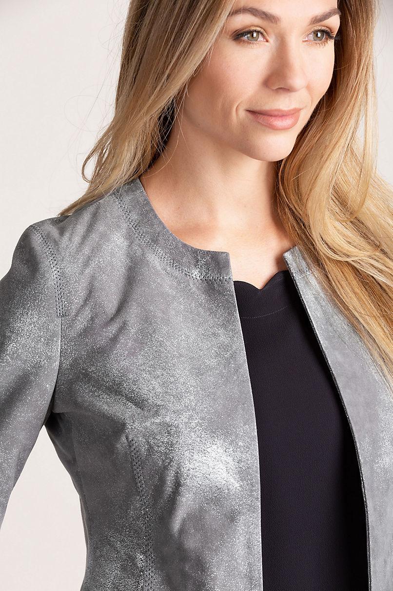 Madeline Cropped Lambskin Leather Jacket