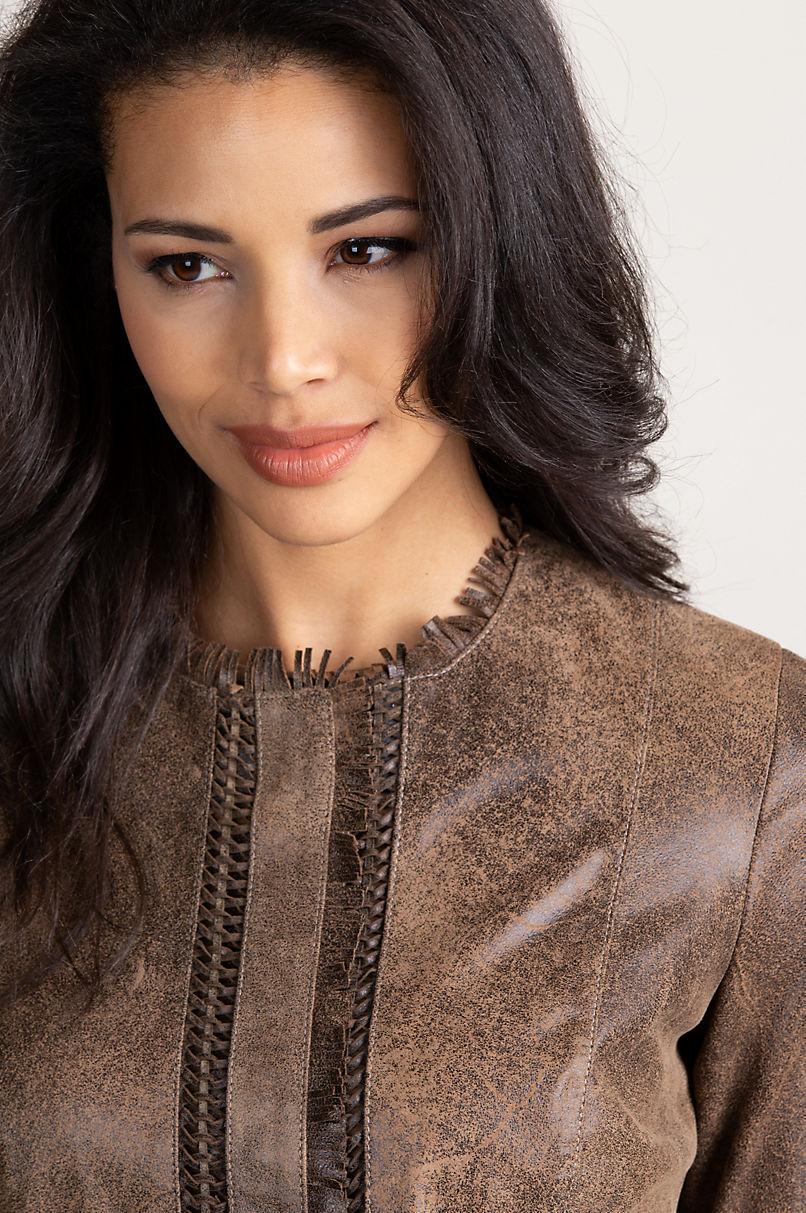 Darcy Distressed Italian Lambskin Leather Jacket