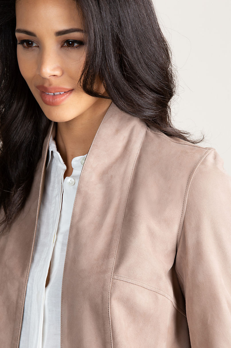 Jessie Reversible Italian Goatskin Suede Leather Jacket