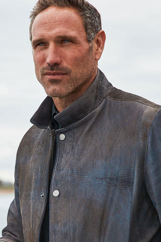 Dorian Two-Tone Textured Italian Lambskin Leather Blazer