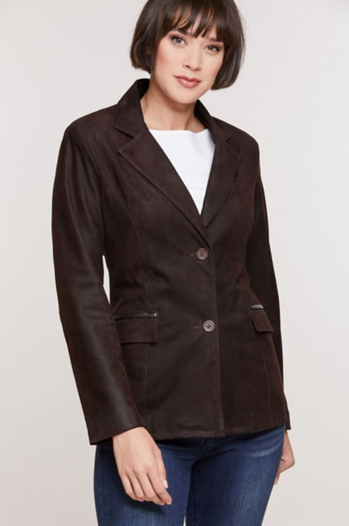 Francesca Embossed Italian Lambskin Leather Blazer