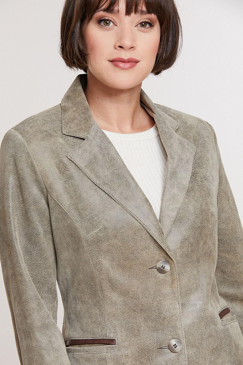 Francesca Distressed Italian Lambskin Leather Blazer