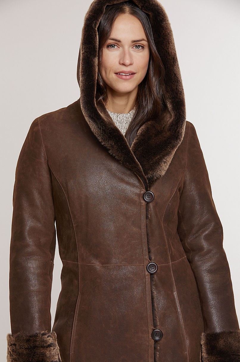 Beth Hooded Spanish Merino Shearling Sheepskin Coat