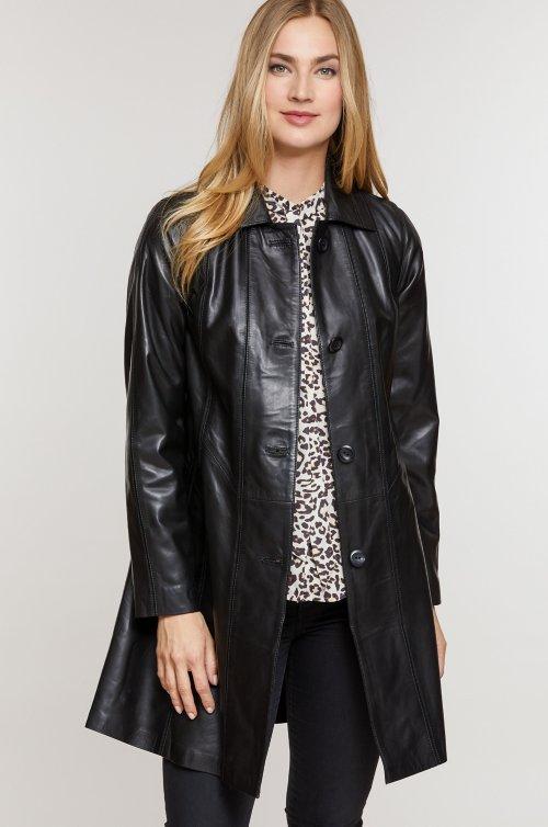 Ava Italian Lambskin Leather Swing Coat