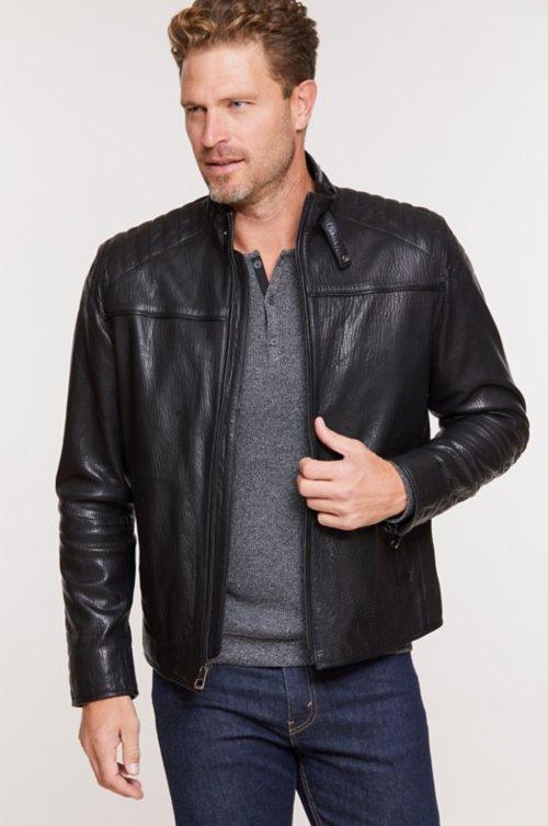 Zane Italian Lambskin Leather Moto Jacket