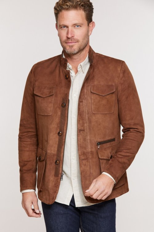 Drake Italian Lambskin Suede Leather Blazer Jacket
