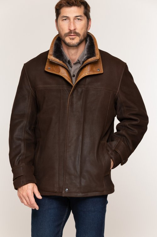 Jack Frost Leather Coat with Spanish Merino Shearling Lining - Big (48 - 52)
