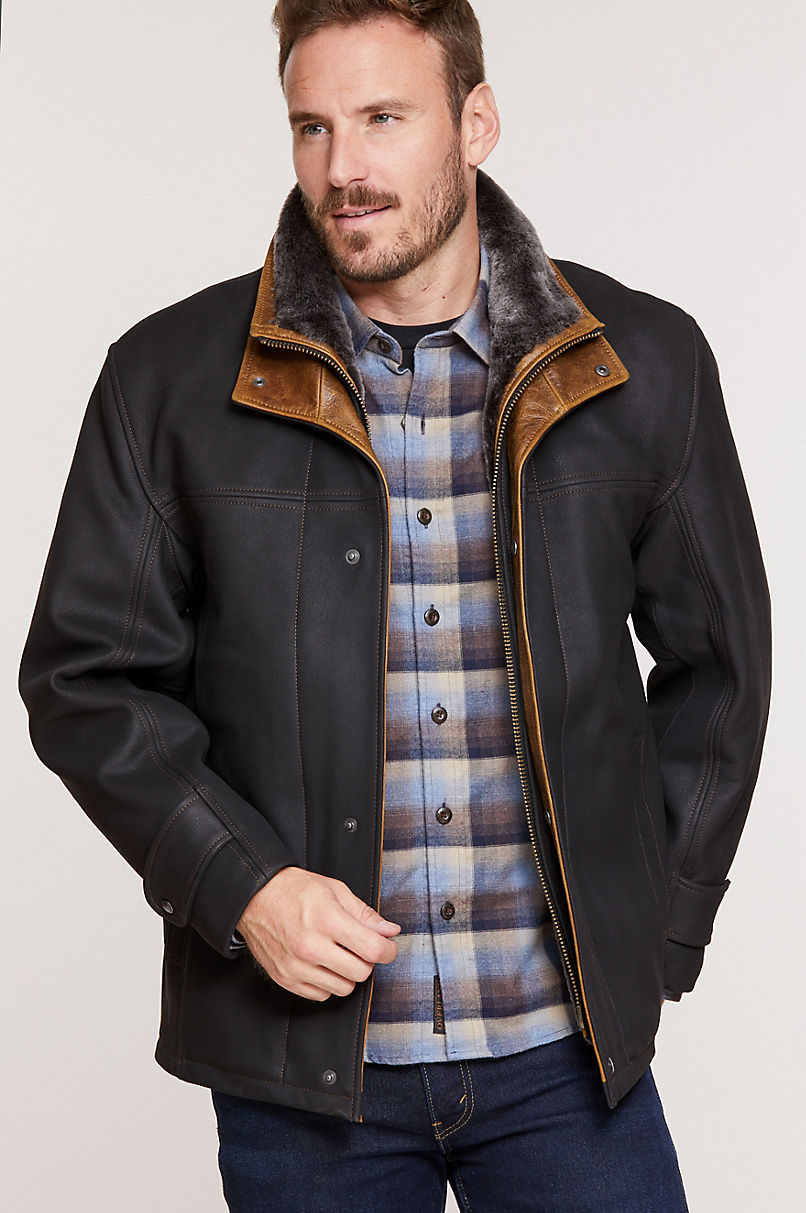 Jack Frost Leather Coat with Spanish Merino Shearling Lining - Big (54 - 56)