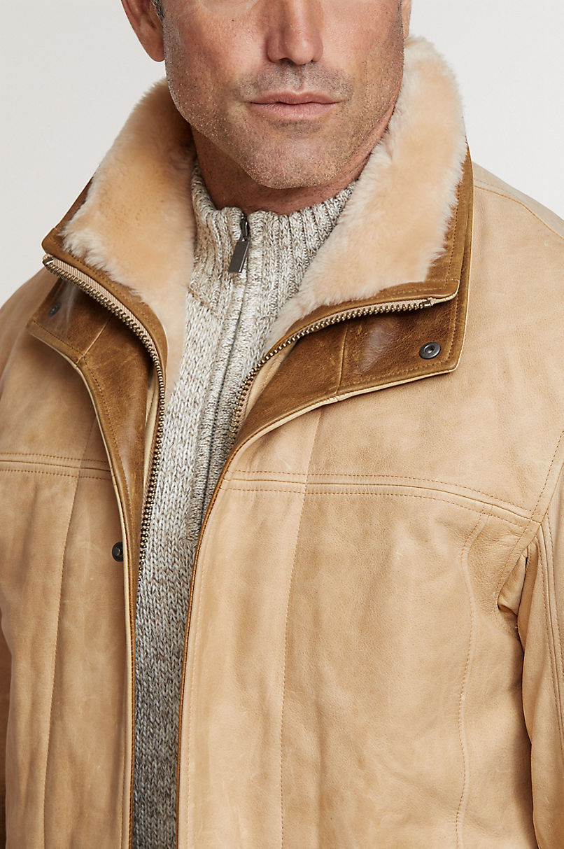 Jack Frost Italian Calfskin Leather Coat with Shearling Lining