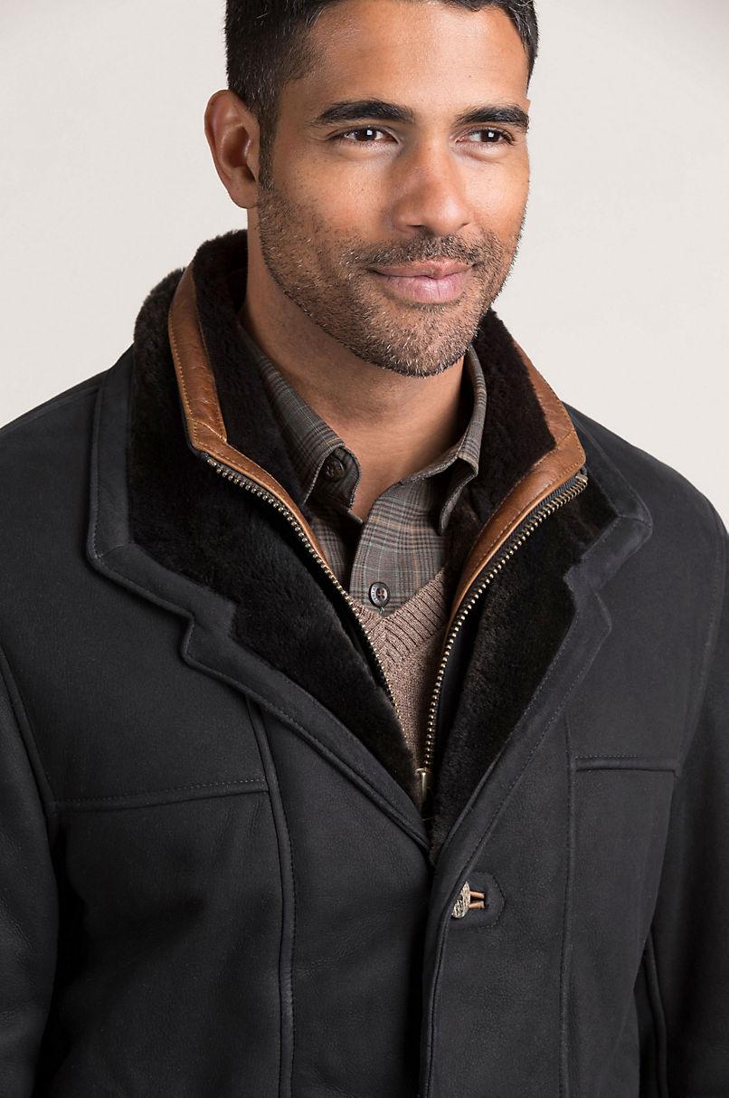 Highlands Black Spanish Merino Shearling Sheepskin Coat