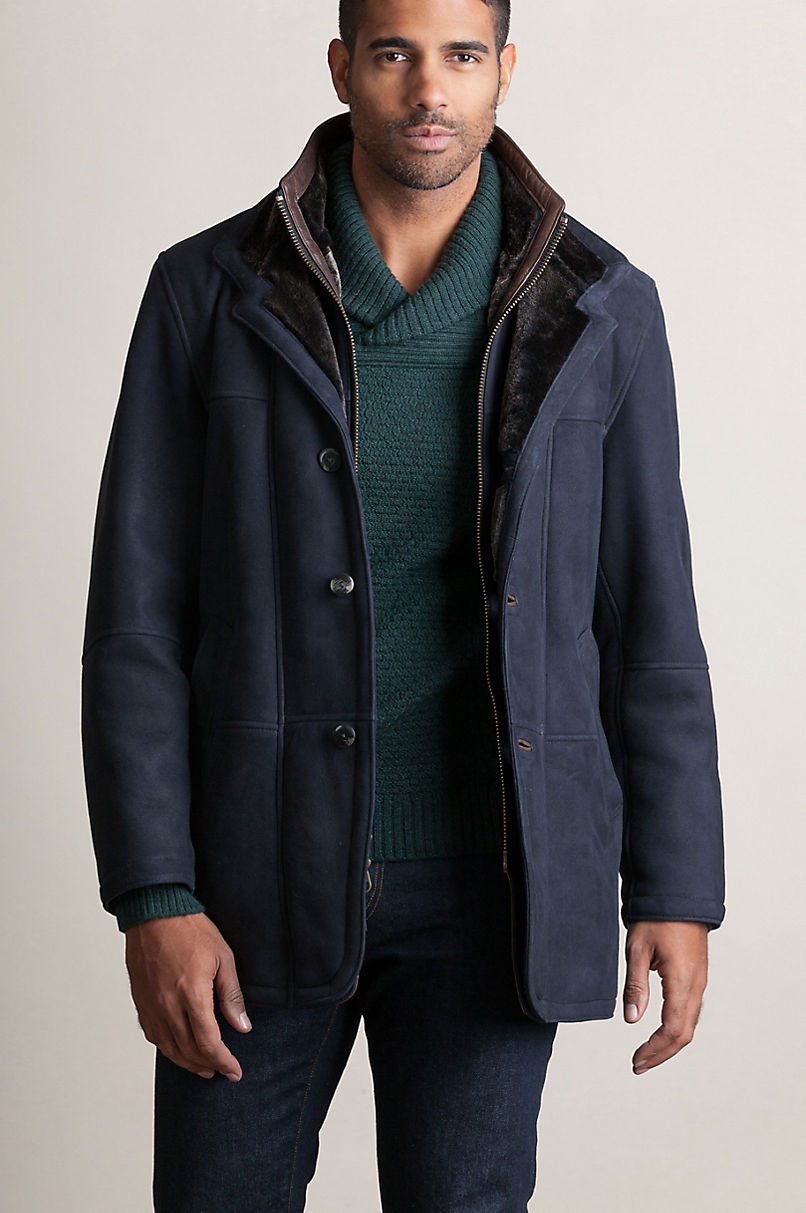 Highlands Navy Shearling Sheepskin Coat