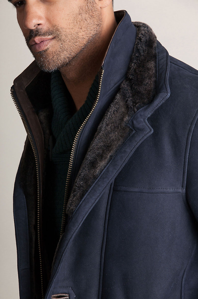 Highlands Navy Spanish Merino Shearling Sheepskin Coat