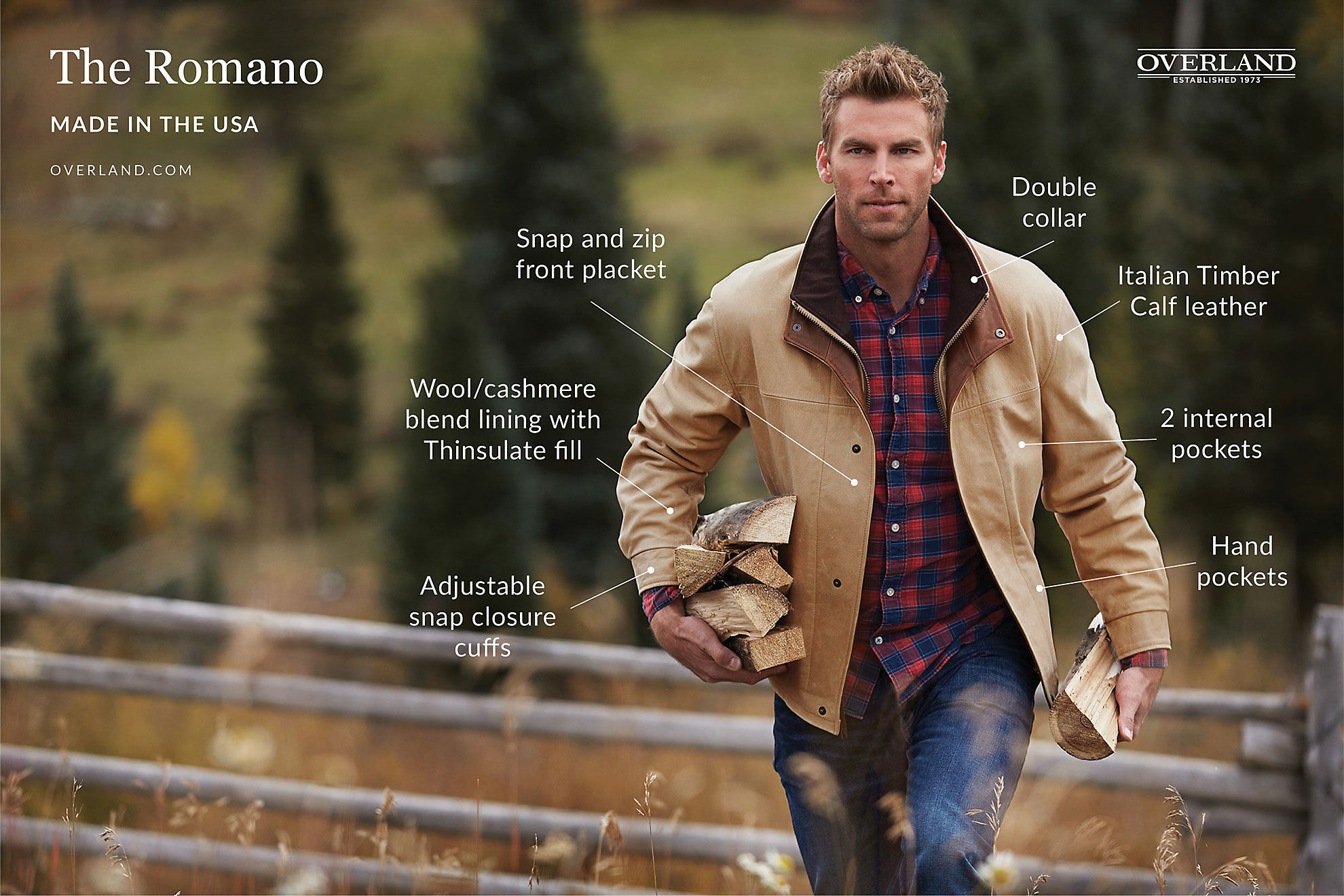 Romano Italian Calfskin Leather Jacket - Tall (40L - 46L)