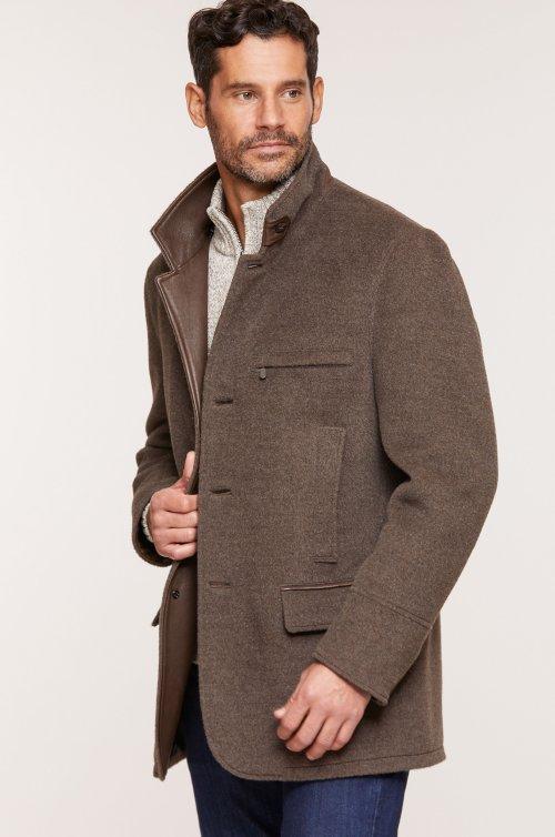 Albatross Alpaca Wool-Blend Blazer with Leather Trim