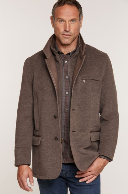 Albatross Alpaca Wool-Blend Blazer with Leather Trim
