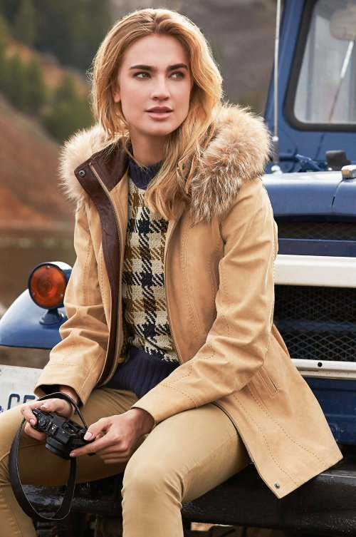 Dana Italian Calfskin Leather Coat with Coyote Fur Trim and Detachable Hood