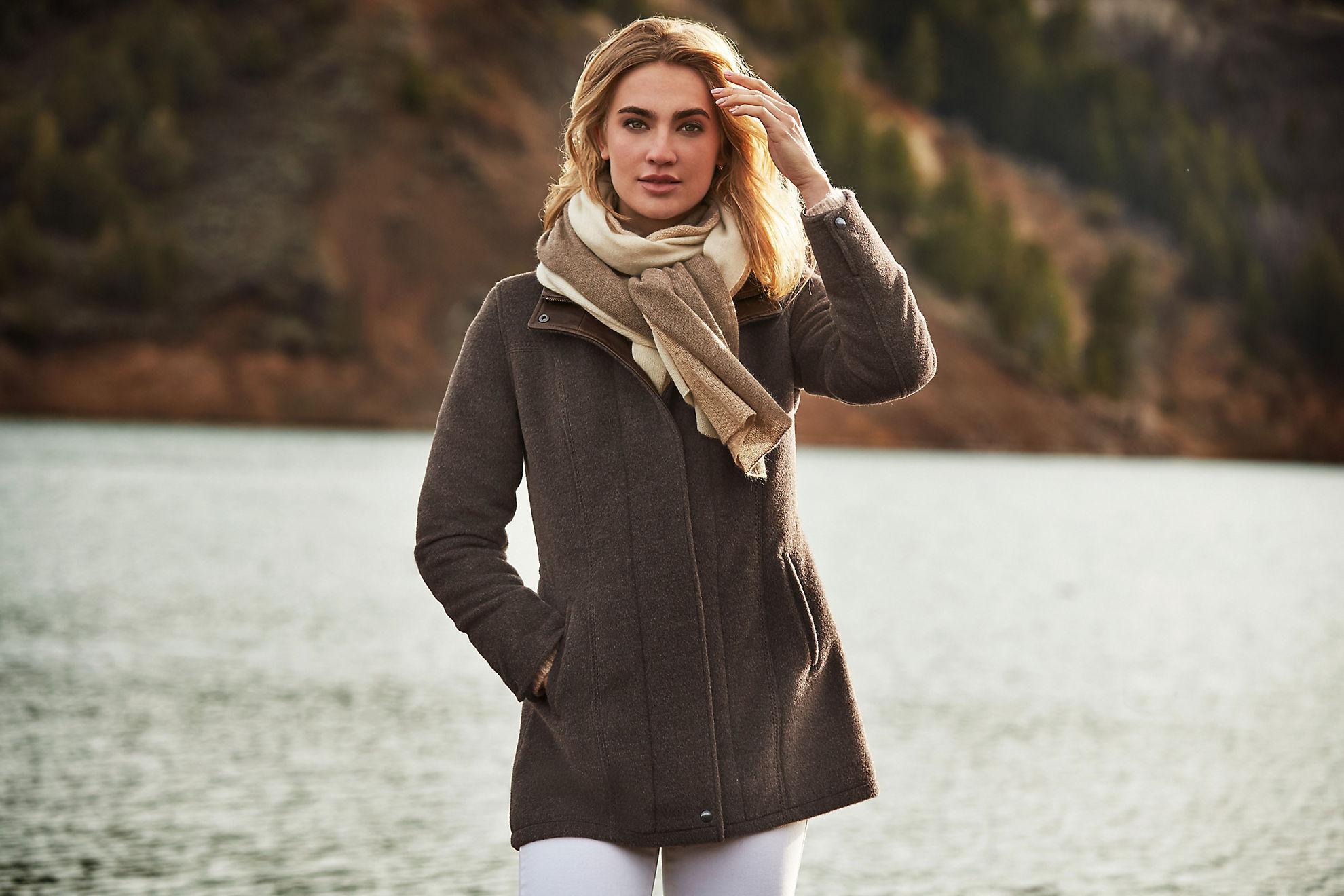 Abbie Alpaca Wool Coat with Lambskin Leather Trim