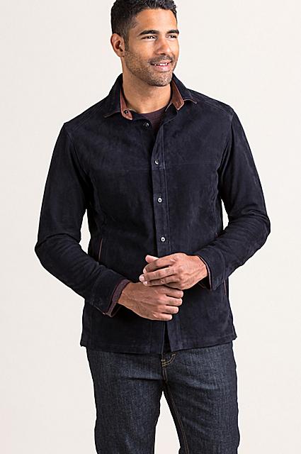 Palm Springs Italian Lambskin Suede Leather Shirt Jacket