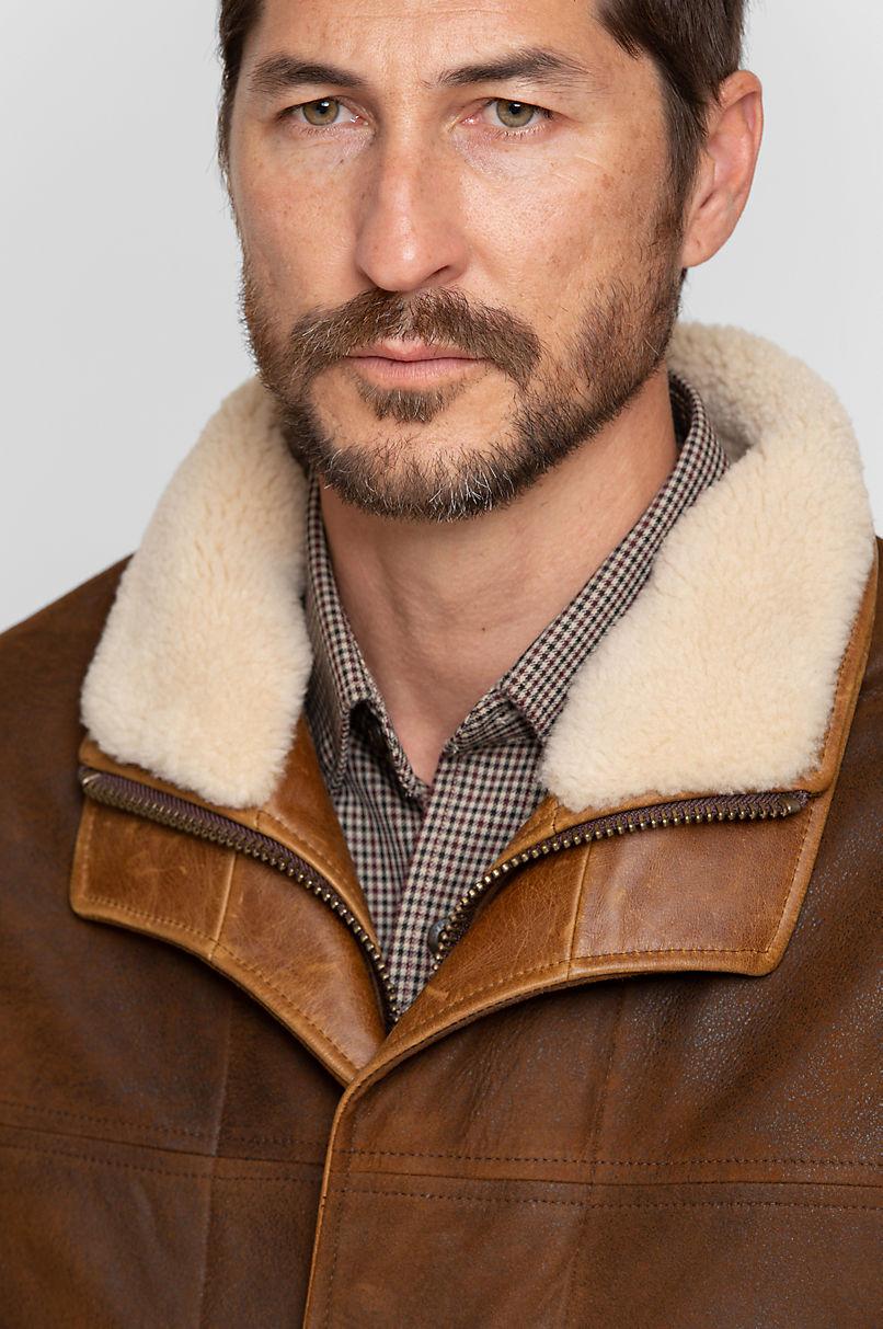 Trekker Lambskin Leather Vest with Shearling Collar