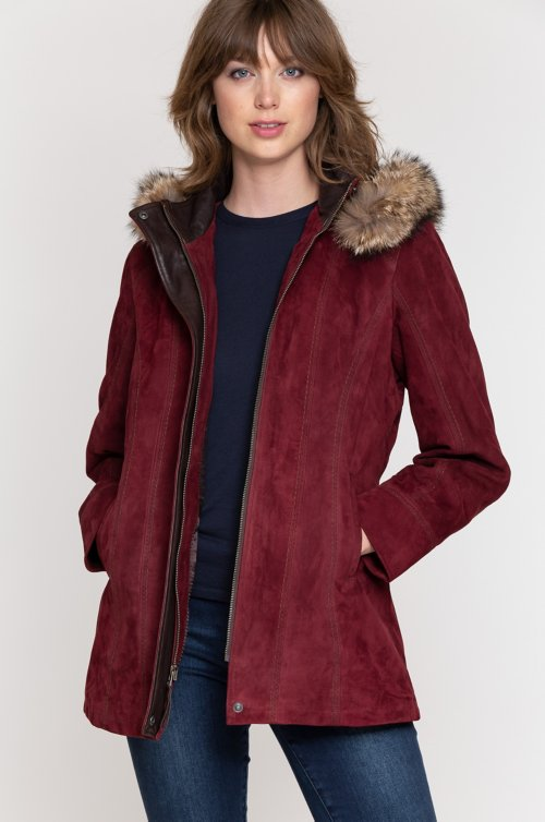 Dana Italian Lambskin Suede Coat with Coyote Fur Trim and Detachable Hood