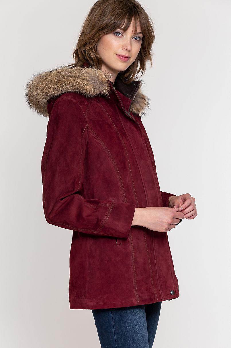 Dana Italian Lambskin Suede Coat with Coyote Fur Trim and Detachable Hood