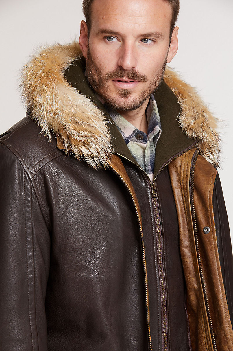 Calgary Lambskin Leather Coat with Coyote Fur Trim and Detachable Hood