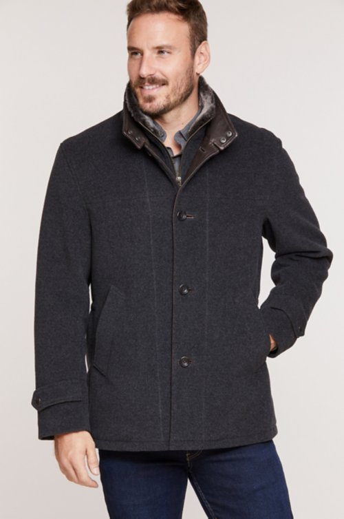 New Haven Italian Wool-Blend Jacket with Removable Shearling Collar and Bib